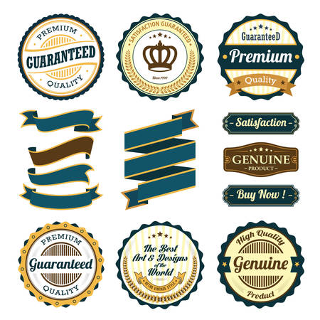 Ribbon and Badge Vector Sets Illustration