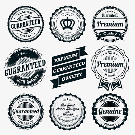 badge with ribbon: Ribbon and Badge Vector Sets Illustration