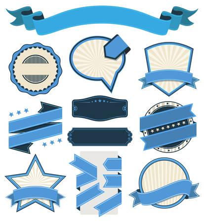 blue shield: Ribbons and Badges Vector