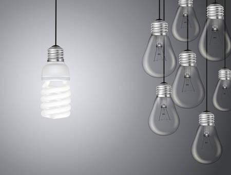 fluorescent light: Idea concept with light bulbs illustration