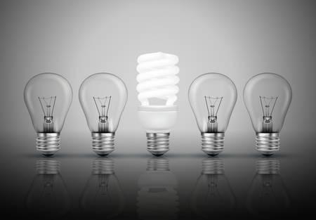energy efficient: Idea concept with light bulbs illustration