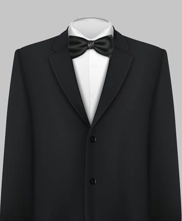 Tuxedo vector background with bow tie  イラスト・ベクター素材