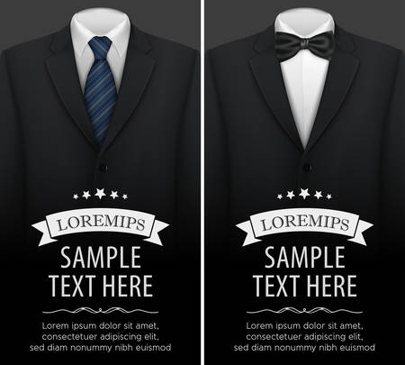 Tuxedo vector background with bow tie Çizim