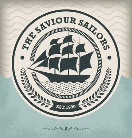 ship wheel: Vintage Retro Nautical Badge Illustration