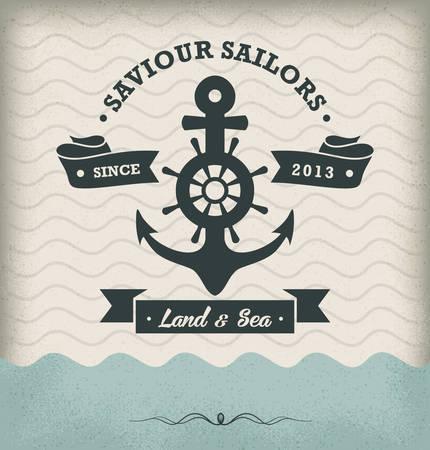 Vintage Retro Nautical Badge Illustration