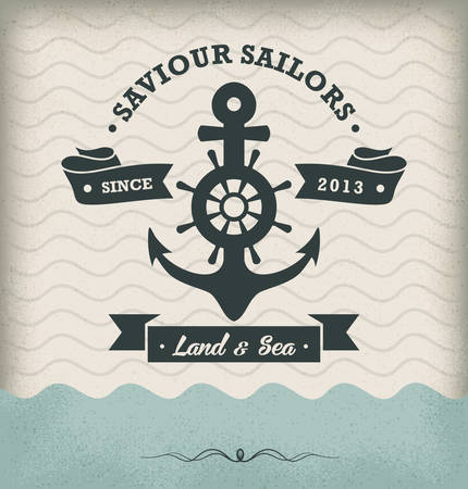 sailing vessel: Vintage Retro Nautical Badge Illustration