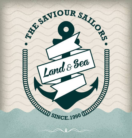 Vintage Retro Nautical Badge Vector