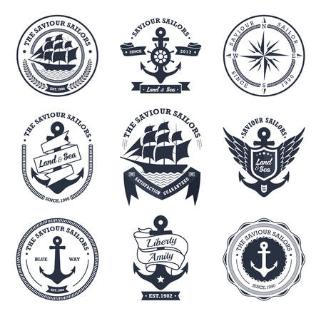 boat wheel: Set Of Vintage Retro Nautical Badges And Labels
