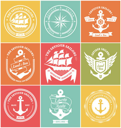 anchor drawing: Set Of Vintage Retro Nautical Badges And Labels