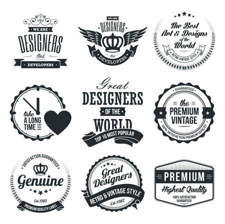 Set of Retro Vintage Badges and Labels  イラスト・ベクター素材