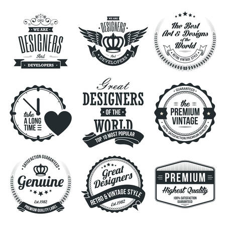 Set of Retro Vintage Badges and Labels Ilustração
