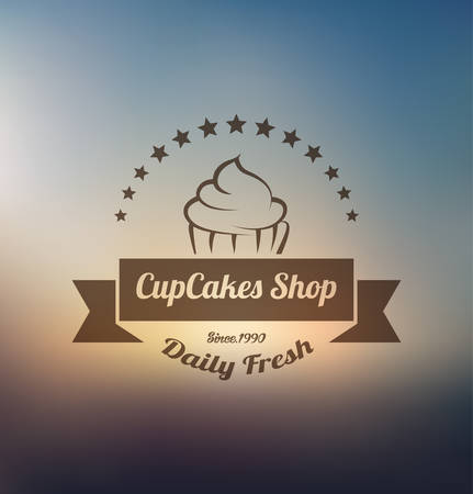 background: Cupcake food label over blurred background