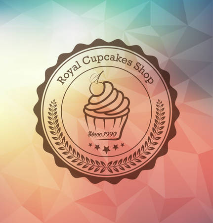cake: Cupcake food label over geometrical background