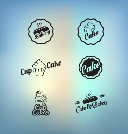 Vintage retro Cupcakes Bäckerei Abzeichen und Etiketten Standard-Bild - 32982300
