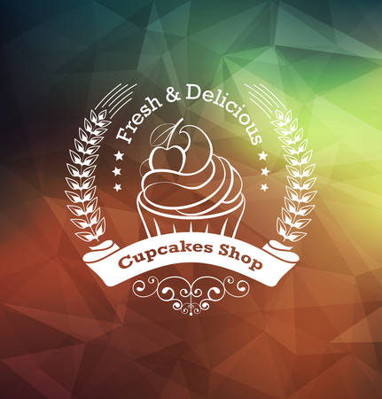 Cupcake food label over geometrical background