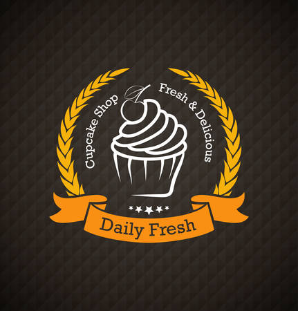 Cupcake Lebensmittel-Label über geometrischen Hintergrund Standard-Bild - 32982308
