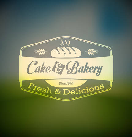 pastry shop: Cake and bakery food label over blurred background Illustration