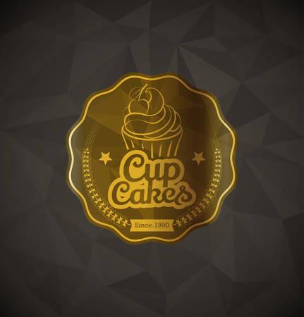 Kuchen-Nahrung Gold Label auf geometrischen Hintergrund Standard-Bild - 32982314