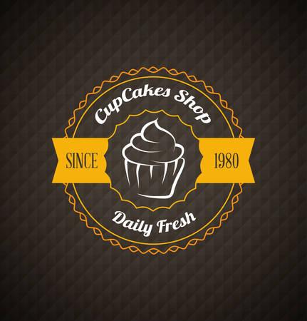 Cupcake food label over dark geometrical background