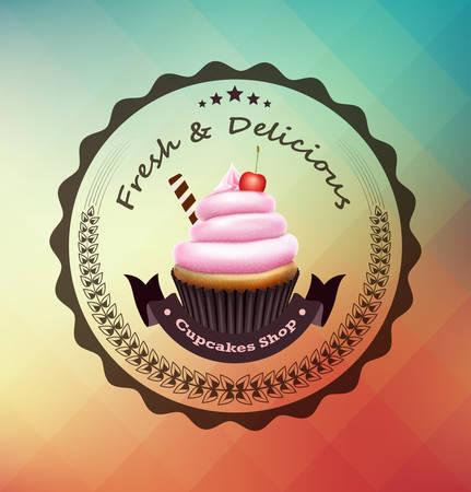 Cupcake mit Label über bunten geometrischen Hintergrund Standard-Bild - 32982381
