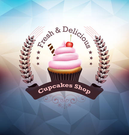 Cupcake with label over twilight polygonal background