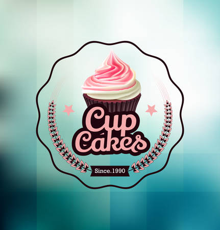 Pink cupcake with label over geometric background Illustration