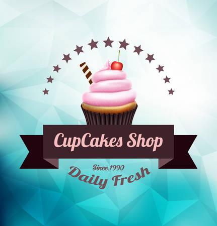 Rosa Cupcake mit Label über polygonale Hintergrund Standard-Bild - 32982396