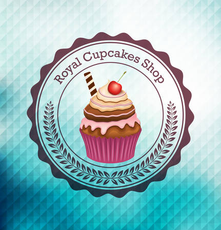 Cupcake with label over geometric background