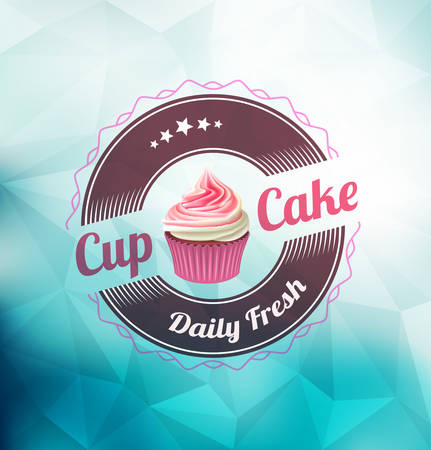 Pink cupcake with label over polygonal background