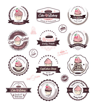 fresh bakery: Vintage retro cupcakes bakery badges and labels