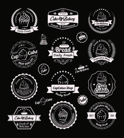 Vintage retro Kuchen-Bäckerei-Abzeichen und Etiketten Standard-Bild - 32987249