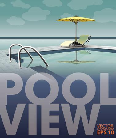 Schwimmbad in der Nähe des Meeres, Vektor-Vorlage Standard-Bild - 33450150