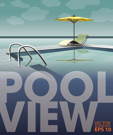 poolside: swimming pool near the sea, vector template