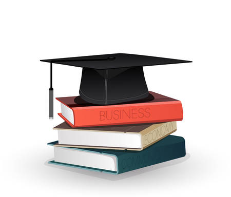 university students: Graduation mortar on top of books