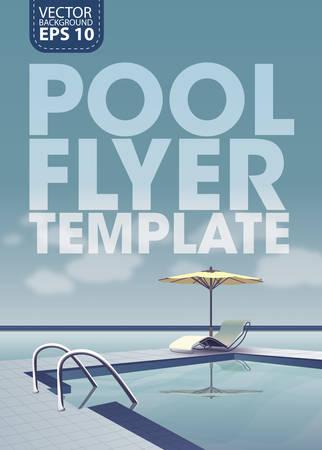 Swimming pool near the sea, vector template