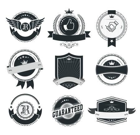 Set di distintivi e le etichette d'epoca Archivio Fotografico - 33450268