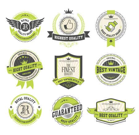 Set di distintivi e etichette d'epoca Archivio Fotografico - 33450270