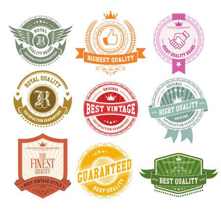 Set di distintivi e etichette d'epoca Archivio Fotografico - 33450272