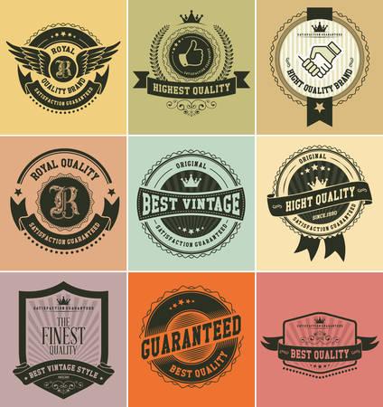 Set di distintivi e le etichette d'epoca Archivio Fotografico - 33450274