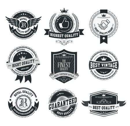 Set di distintivi e le etichette d'epoca Archivio Fotografico - 33450283