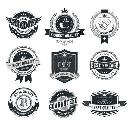 Set of vintage badges and labels