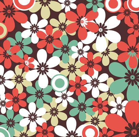 Retro floral seamless, vector pattern  イラスト・ベクター素材