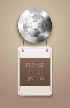 do not disturb sign: Hotel door handle with \