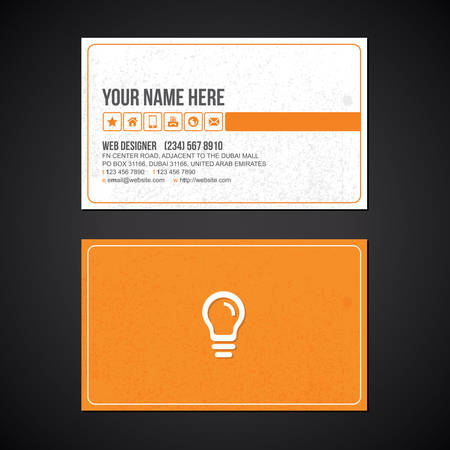 Yellow buld business card with grunge style