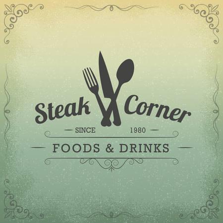 Vintage label restaurant banner