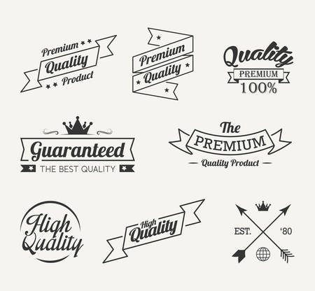 Vintage premium quality label vector set Vettoriali