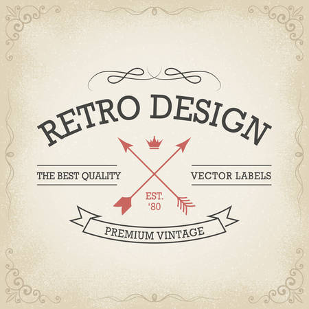 retro fashion: Vintage banners hand drawn