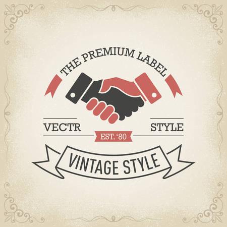 Handshake vintage banner hand drawn