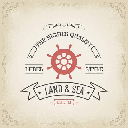 Banner disegnata a mano Nautical epoca Archivio Fotografico - 33980456