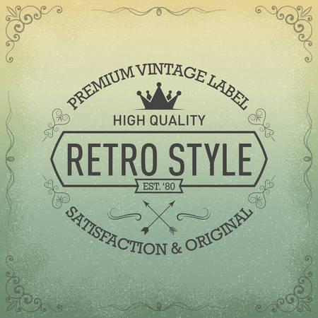 Vintage label hand drawn  イラスト・ベクター素材